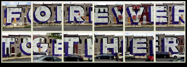 An iPhone photo collage of the mural by New York artist Steve Powers painted on E. Eager Street buildings that will soon be torn down. The large mural is part o fthe Love Letters to Baltimore project.