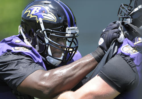 Ravens offensive lineman Kelechi Osemele during voluntary OTAs on Wednesday.