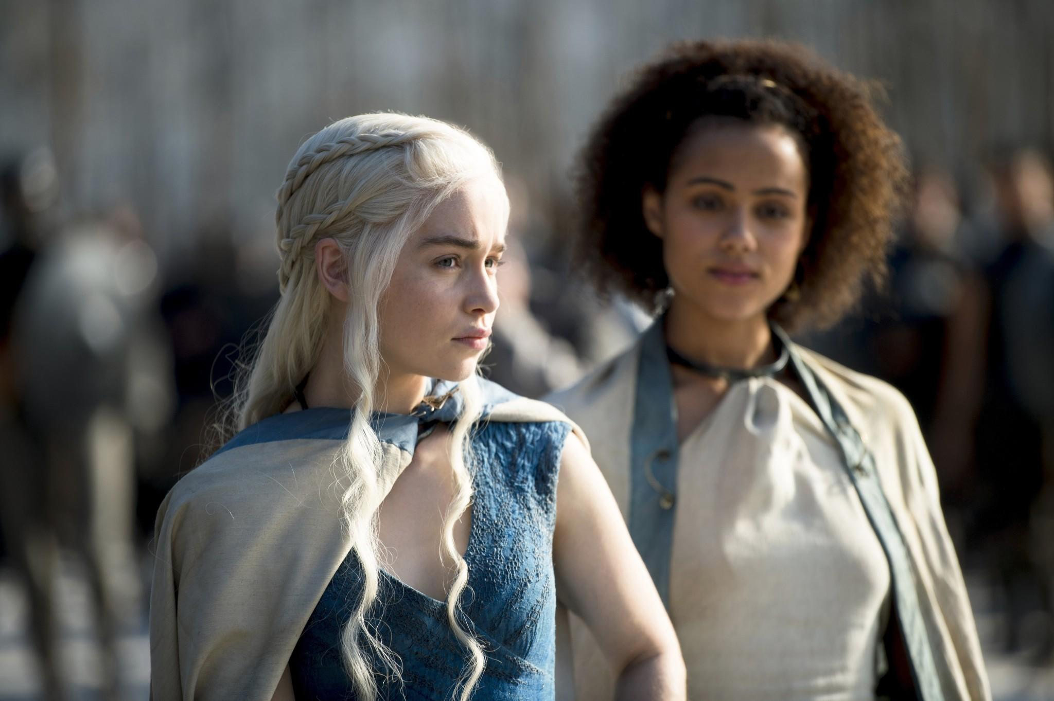 Emilia Clarke and Nathalie Emmanuel from HBO's 'Game of Thrones'