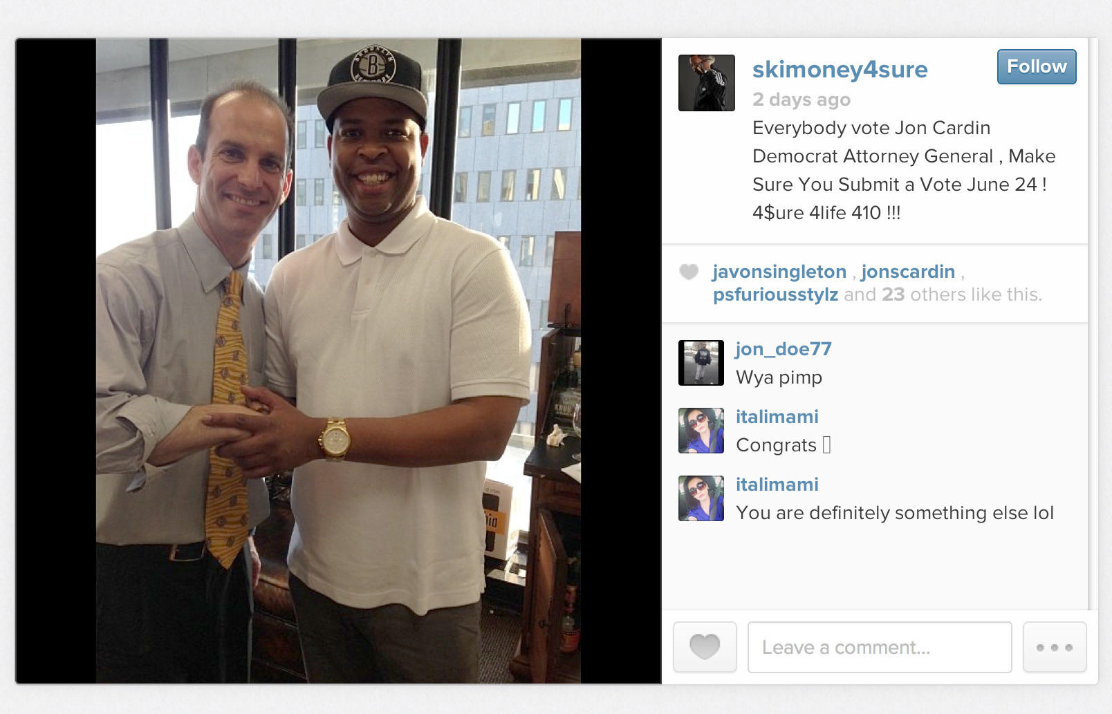 Screenshot of Instagram photo of Jon Cardin and rapper Ski Money, who endorsed the candidate for attorney general on Instagram and Twitter.