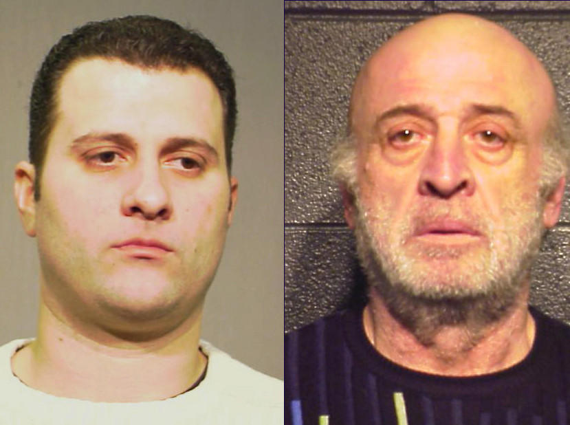 Chris Giannis, (left) and his father Nick Giannis, (right) former owners of the Boston Blackie's restaurant chain, pled guilty in a $1.7 check-kiting scheme, according to prosecutors and court records.