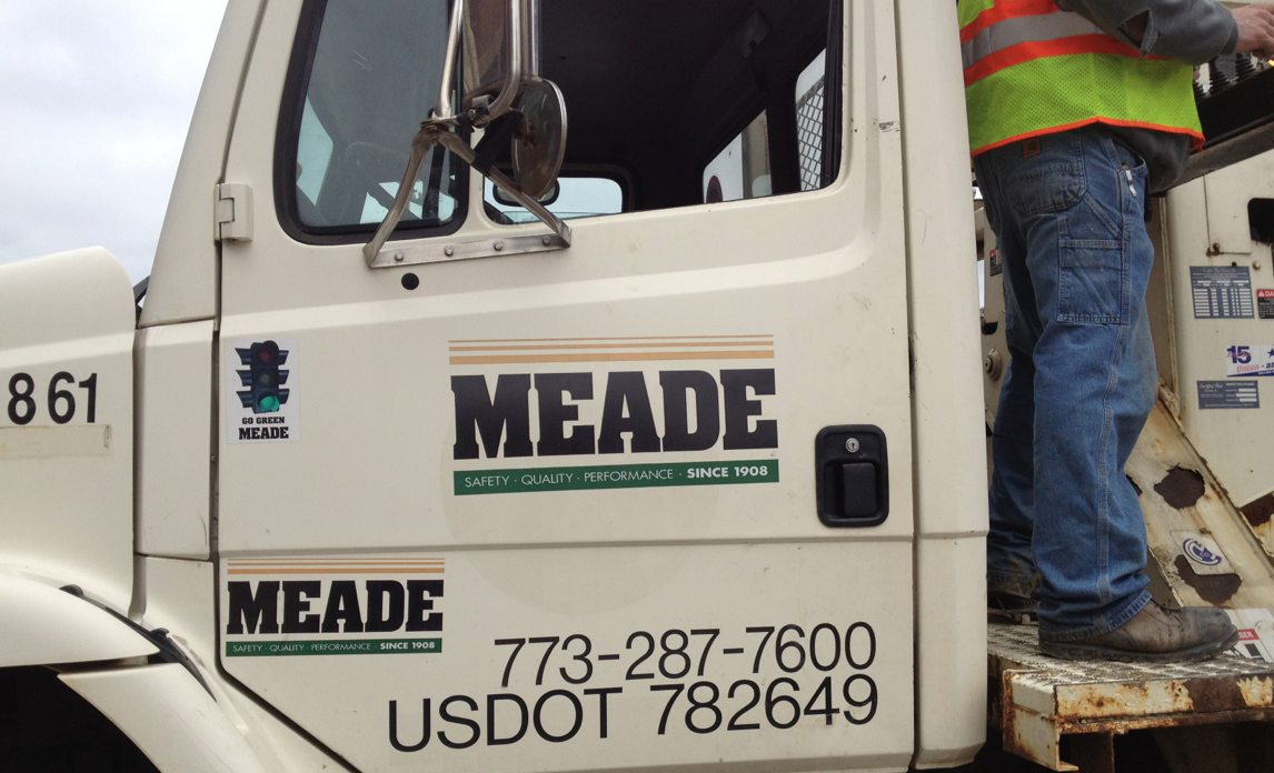 A Meade Electric Co. truck on a worksite.