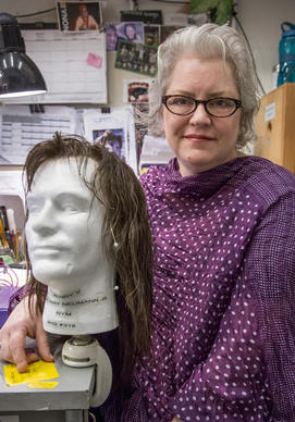 Melissa Veal, Chicago's premiere stage wig expert at the Shakespeare Theater on Navy Pier, with one of her creations.