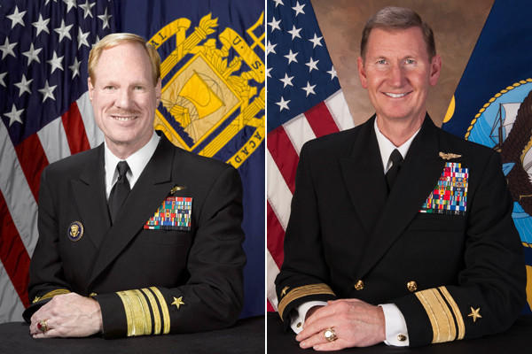 "Vice Adm. Michael H. Miller, current superintendent of the U.S. Naval Academy (left), is to be replaced by Rear Adm. Walter E. ""Ted"" Carter Jr., president of the U.S. Naval War College."