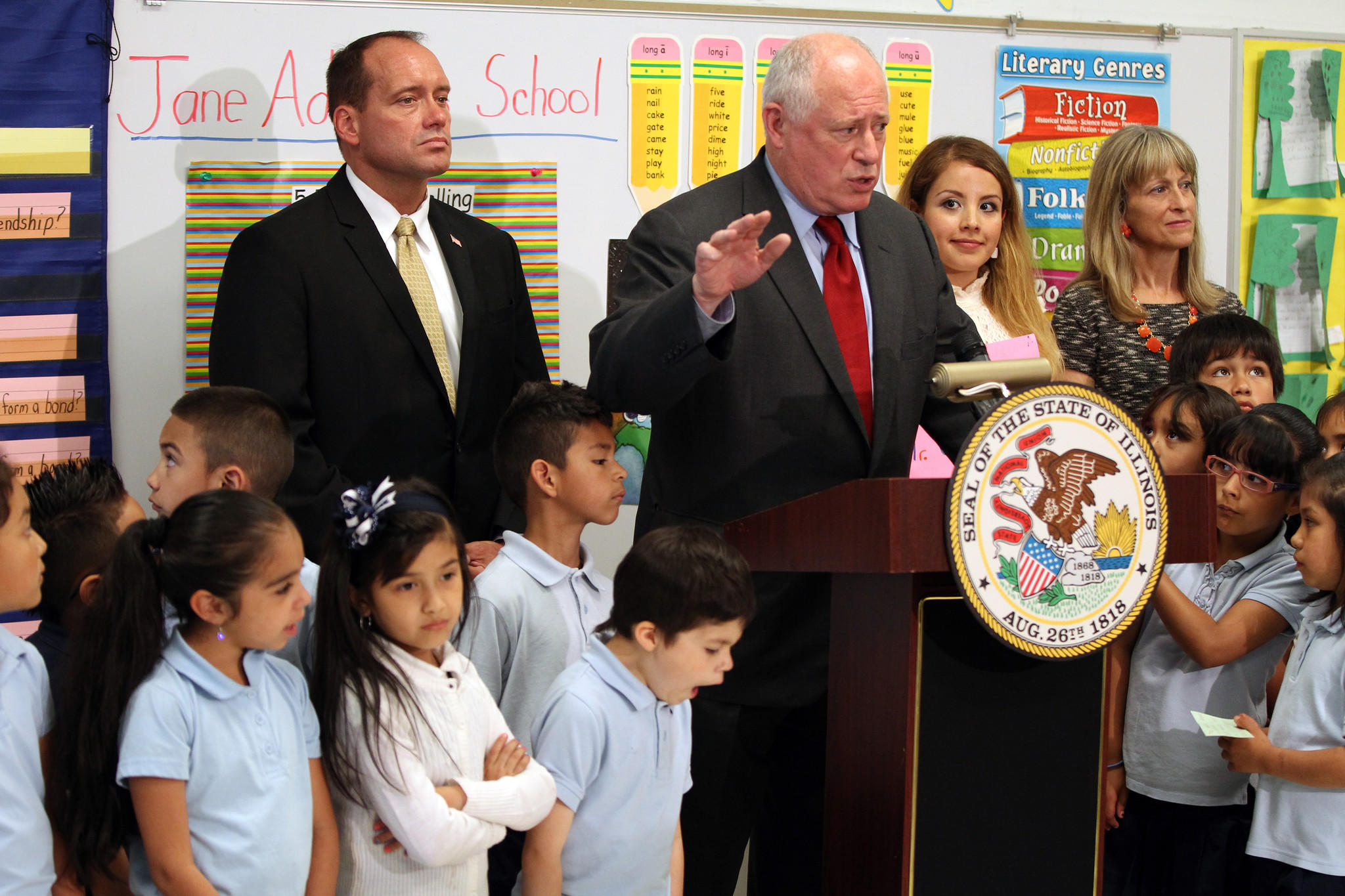 Gov. Pat Quinn at Jane Addams Elementary School in Chicago on Tuesday.