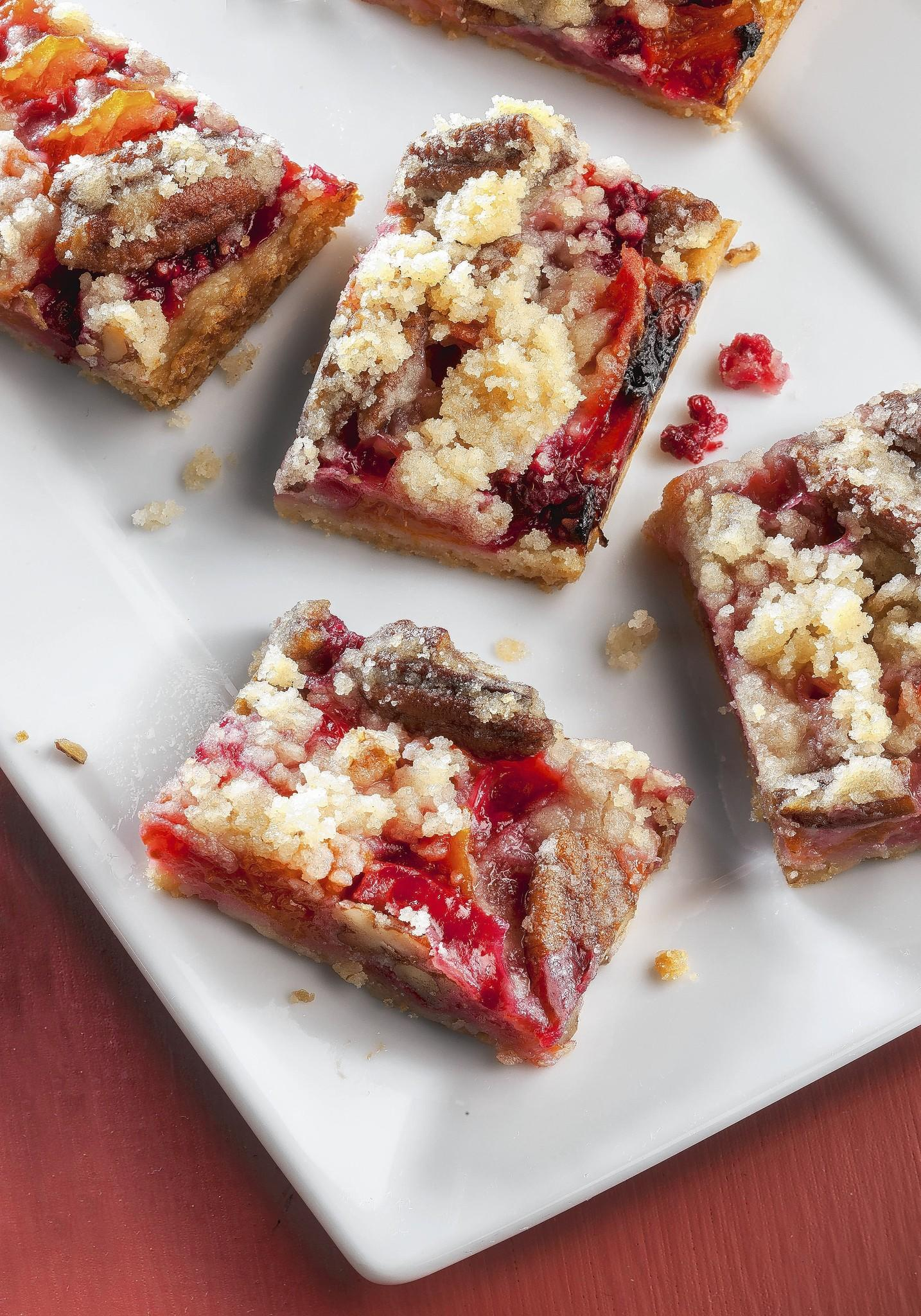 A finished dish photo of raspberry apricot bars.