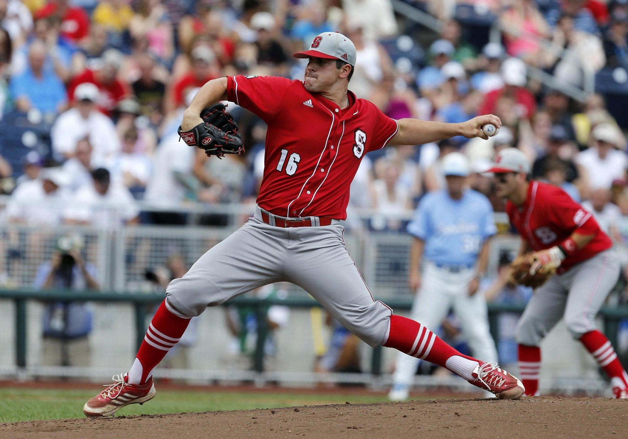 N.C. State's Carlos Rodon (16) pitches during the 2013 College World Series.