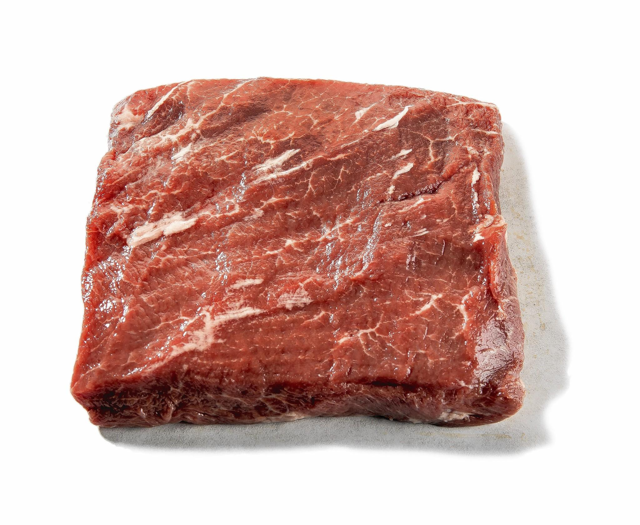 (Shoulder top blade steak.) Boneless and cut from the shoulder clod top blade roast, each steak averages 8 ounces, with a thickness varying from 3/4 to 11/4 inch. Section: chuck
