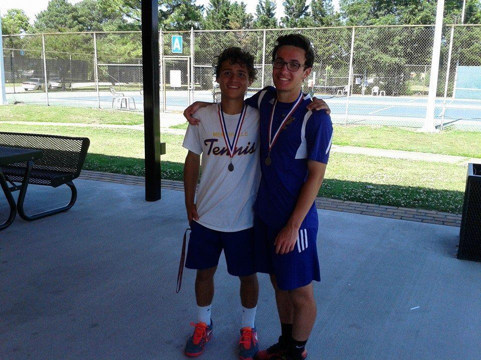 Menchville's Matt Strehle, left, and Austen Delnicki took second place in the Group 5A South regional at Huntington Park, winning matches against Maury and Great Bridge tandems.