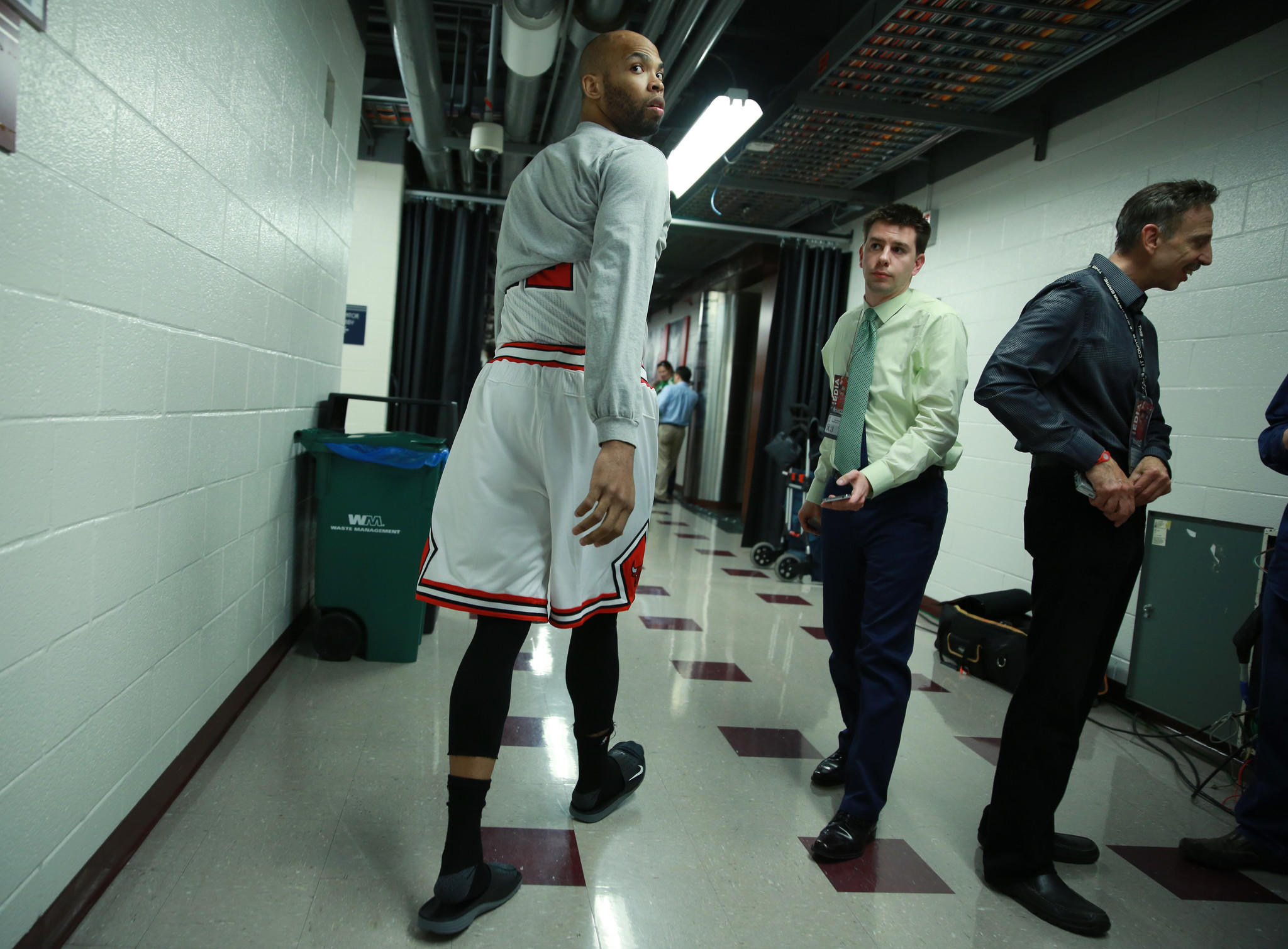 Chicago Bulls player Taj Gibson walks to the locker room before Game 5 of the Eastern Conference Quarterfinals against the Washington Wizards at the United Center on April 29, 2014 in Chicago.