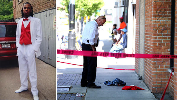 Alante Vallejo, left, was shot and killed near Howard Street and Winchester Avenue in Rogers Park. At right, a detective investigates the shooting scene.