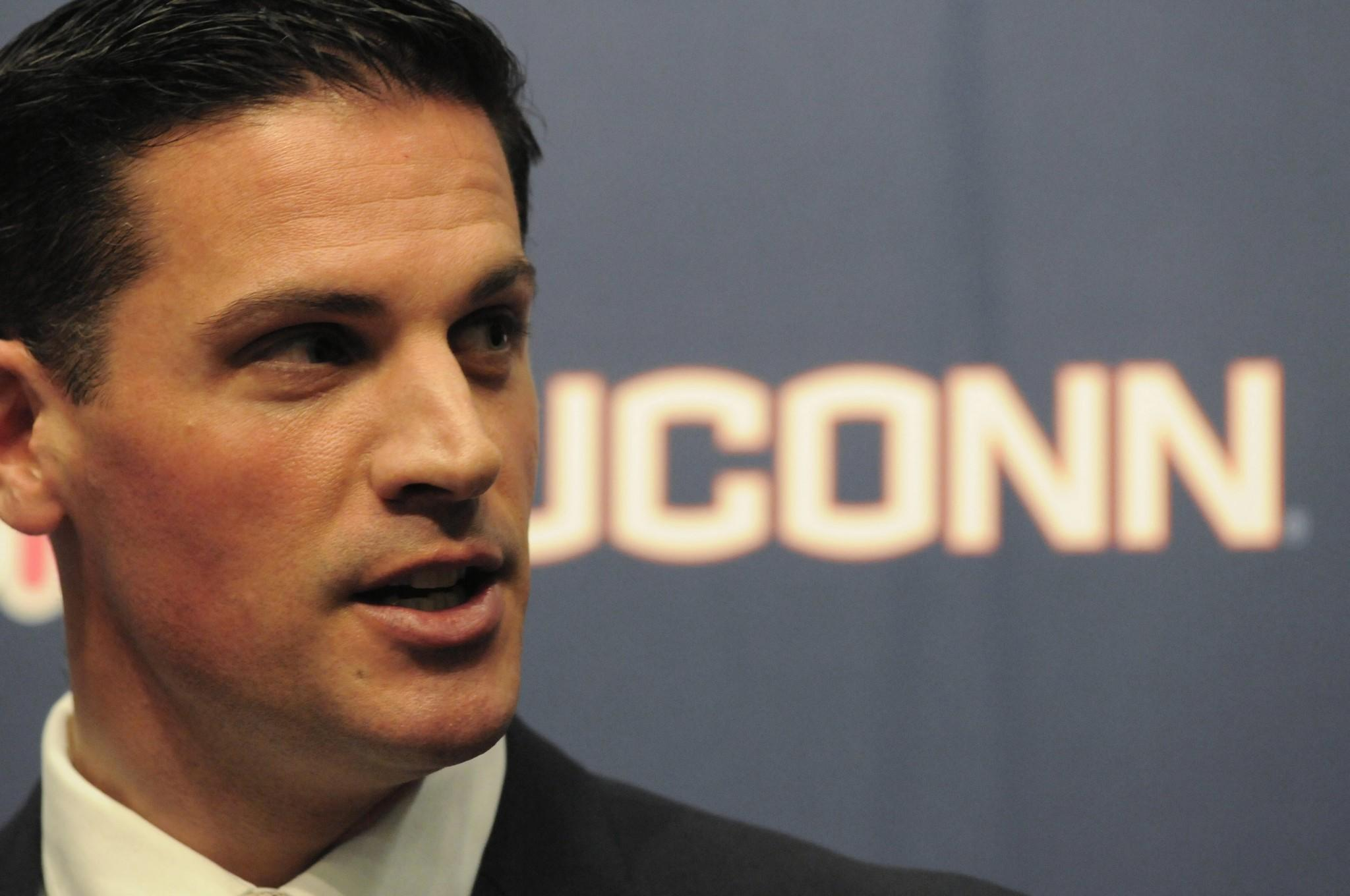 UConn opened its first spring practice under coach Bob Diaco on Monday.