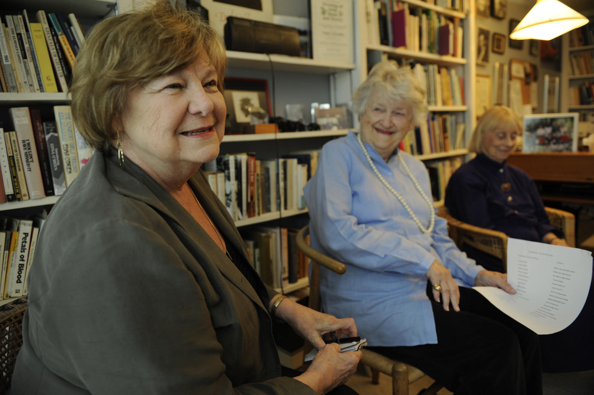 Left to right, Columbia residents Jean Moon, Ellen Conroy Kennedy and Prudence Barry are longtime members of the Howard County Poetry and Literature Society (HoCoPoLitSo). Conroy Kennedy and Barry are two of the women who founded the group in 1974.