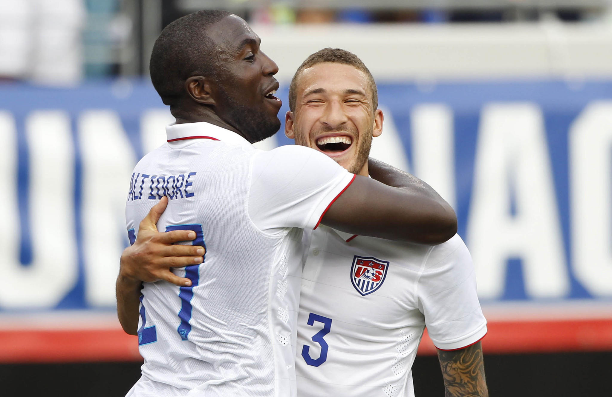 United States forward Jozy Altidore (17) is congratulated by defender Fabian Johnson (23) after Altidore scored against the Nigeria at EverBank Field.