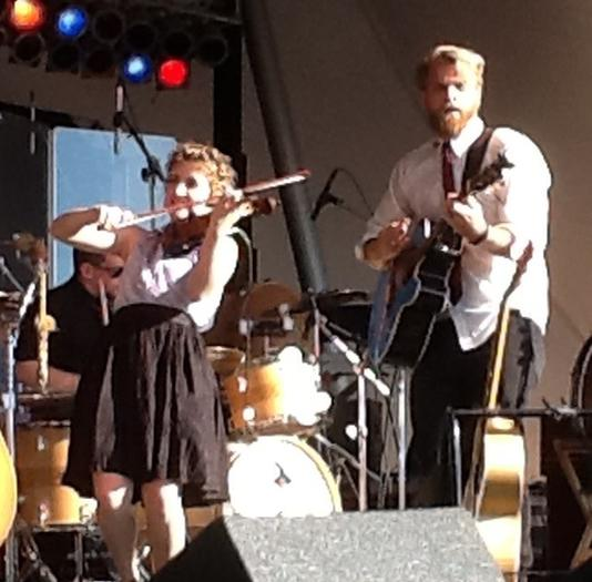 Teresa Totheroh and Ben Hardesty from The Last Bison on stage at Harborfest on Saturday.