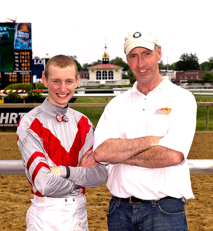 Jockey Trevor McCarthy, left, and trainer Kieron Magee won individual titles at the Pimlico spring meet.