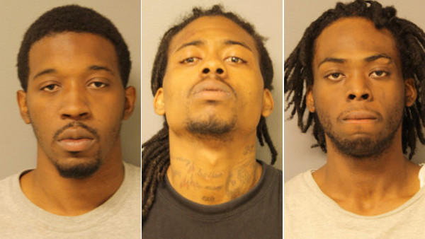 Booking photos of Lekendrick Williams, Darnell Russ, and Antione Golden (from left)