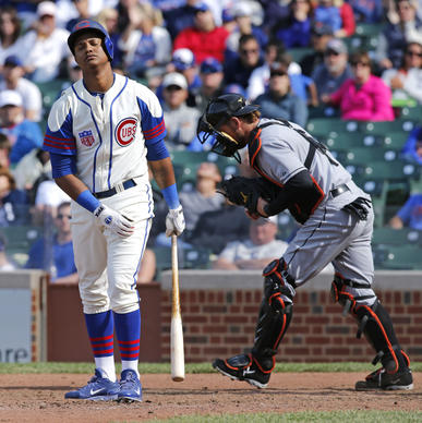 Starlin Castro strikes out swinging to end the game.