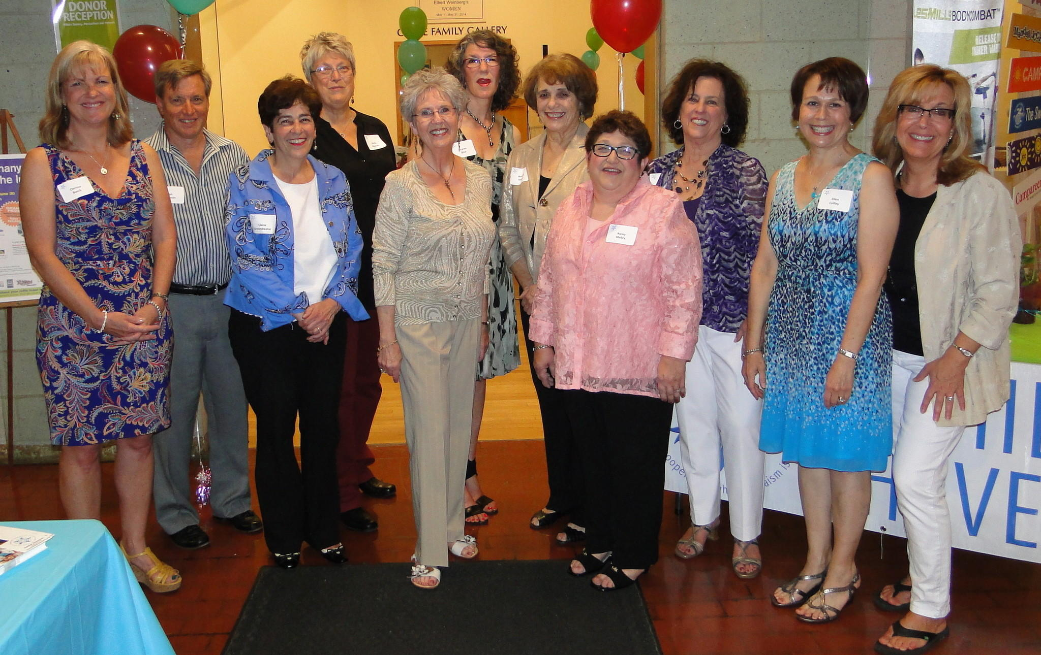 36th anniversary planning committee, left to right: Clarissa Basch, Art Feltman, Elaine Groundwater, Sheila Mascolo, Joan Walden, Sharon Sklar, Beverly Kaplan, Nancy Malley, Marcey Munoz, Ellen Coffey, and Janet Abel, coordinator.
