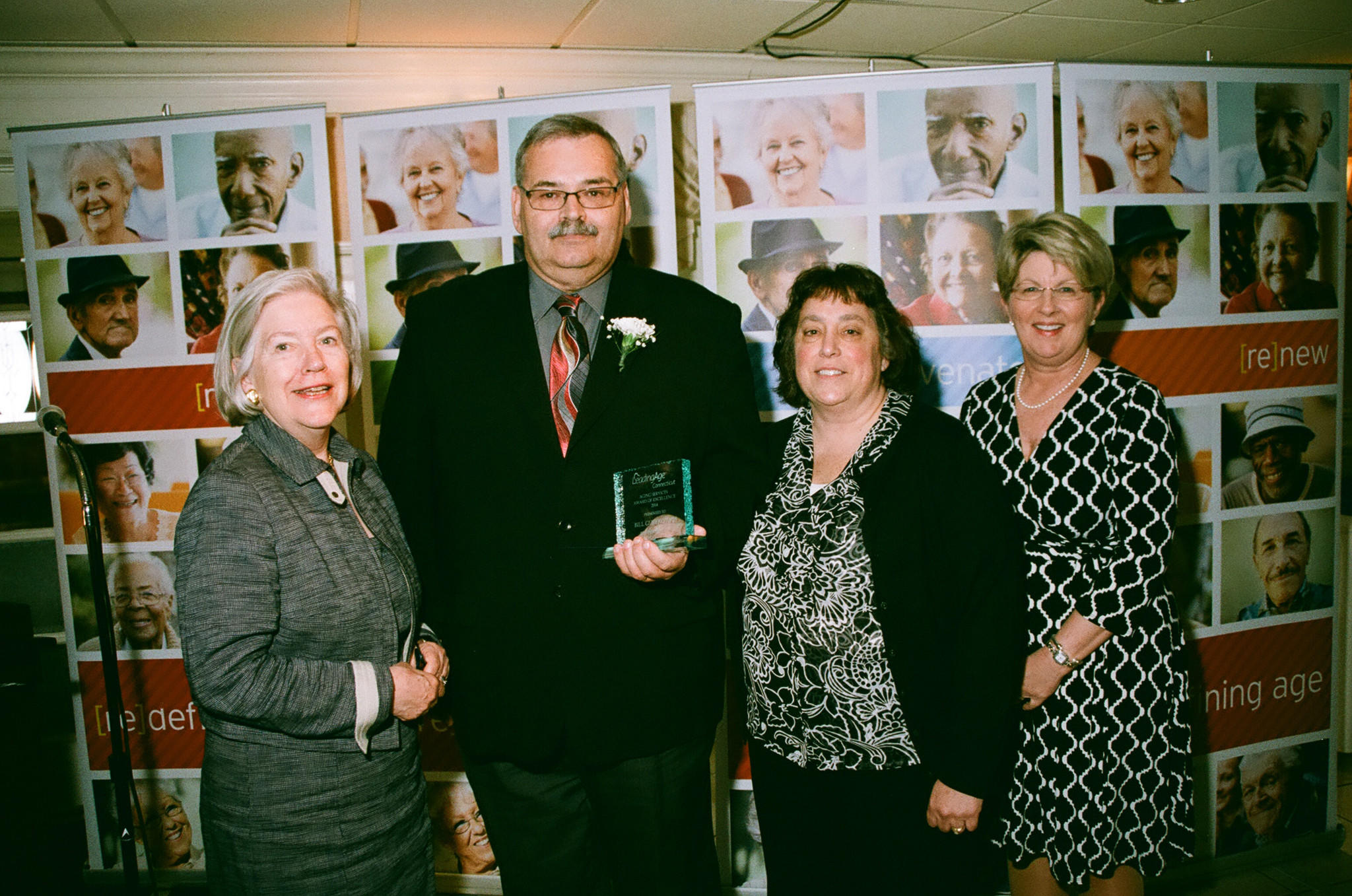 Left to right: Molly Savard, executive director, The Bradley Home and LeadingAge CT's Awards Committee chairwoman; Bill Gurekovich; Robyn Beaulieu, Jefferson House director of nursing; and Patricia Morse, president of Connecticut Baptist Homes and LeadingAge CT chairwoman.