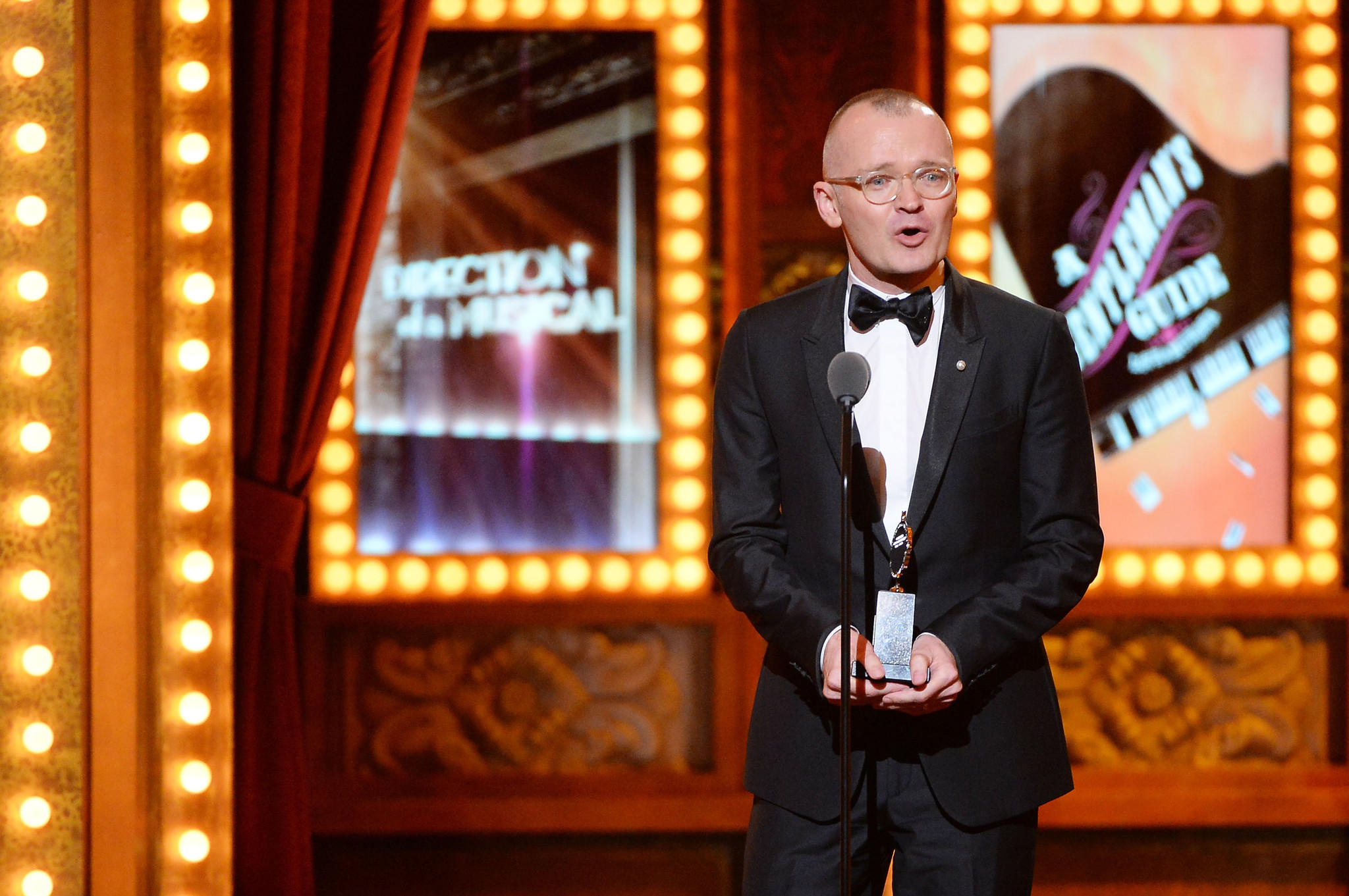 "Darko Tresnjak, artistic director of Hartford Stage, speaks after winning a Tony Award for Best Direction of a Musical for ""A Gentleman's Guide to Love and Murder"" during the 68th Annual Tony Awards at Radio City Music Hall."