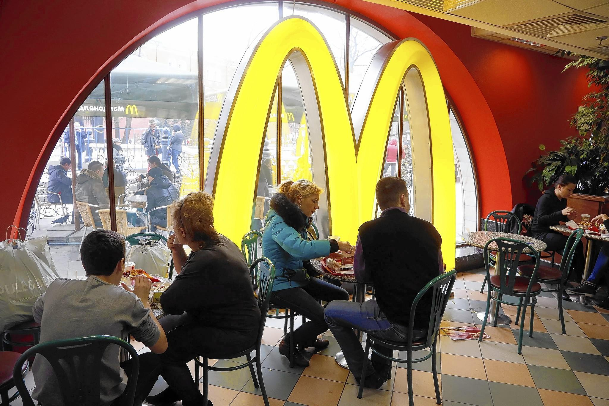 Customers dine at a McDonald's restaurant in Moscow.