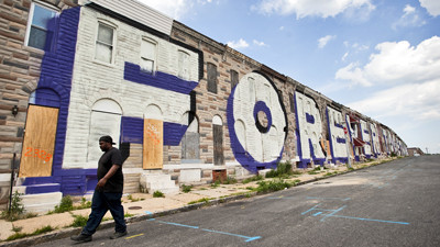 Artist gives preview to mural project in east baltimore for Baltimore mural program