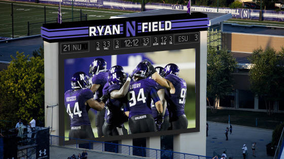 A rendering of the enhance football scoreboard coming to Ryan Field at Northwestern.