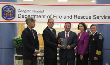 Executive Director of CFSI Bill Webb, CEO/President of MedicAlert Foundation Andrew Wigglesworth, County Executive Ken Ulman, County Councilwoman Courtney Watson, Fire/EMS Chief William Goddard