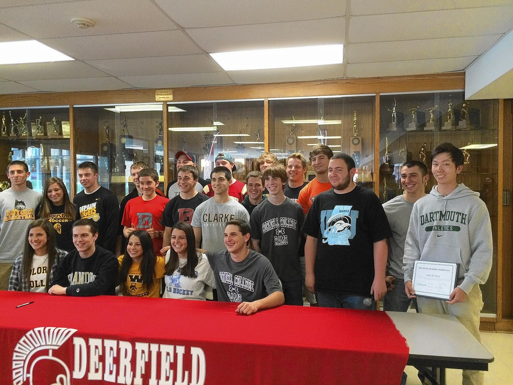 These 23 students represent the slightly better than five percent of the Deerfield High School senior class who will be taking their athletic careers to college.
