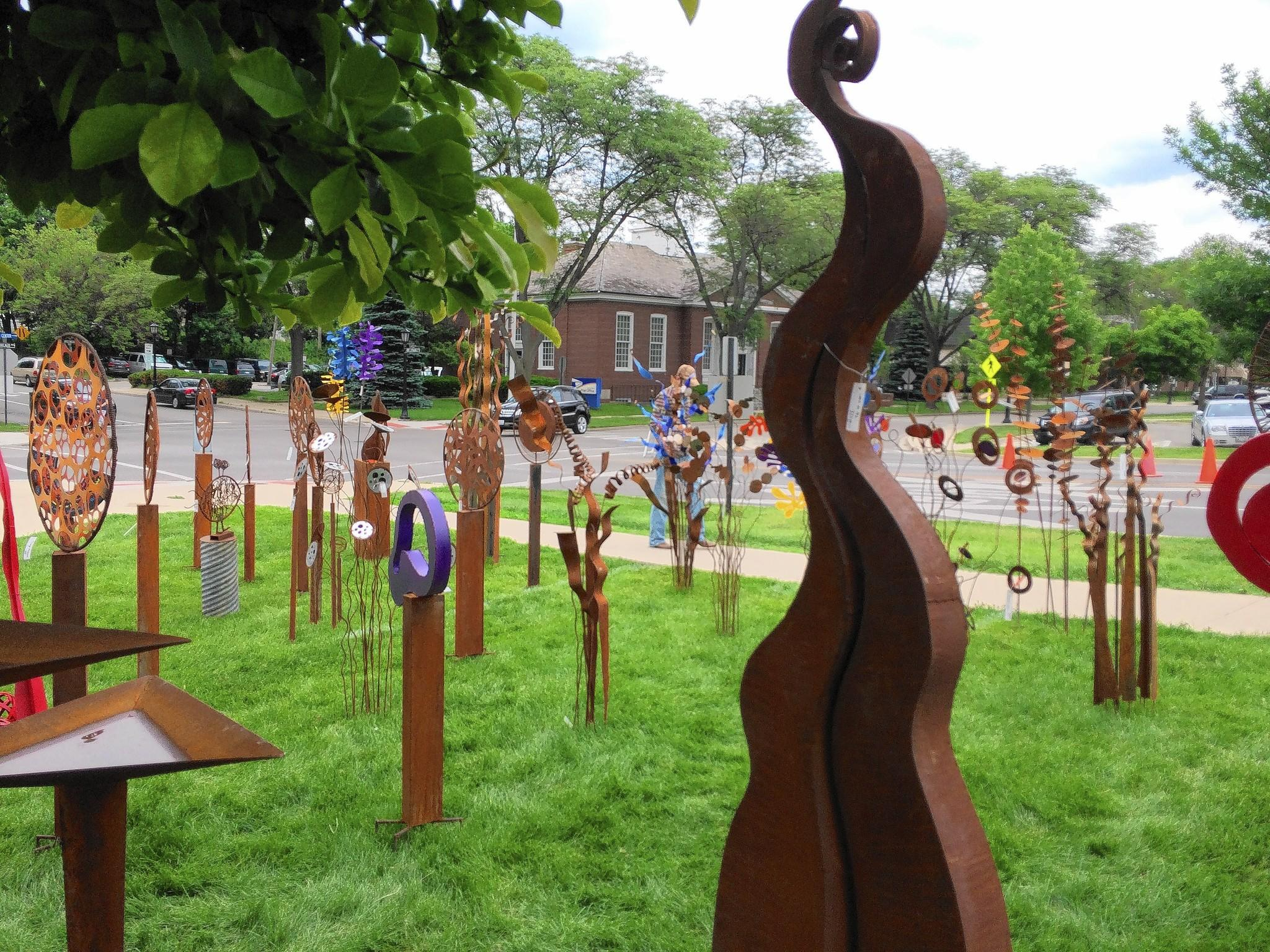 Lawn sculptures were among the items for sale at the 15th annual Hinsdale Art Fair.
