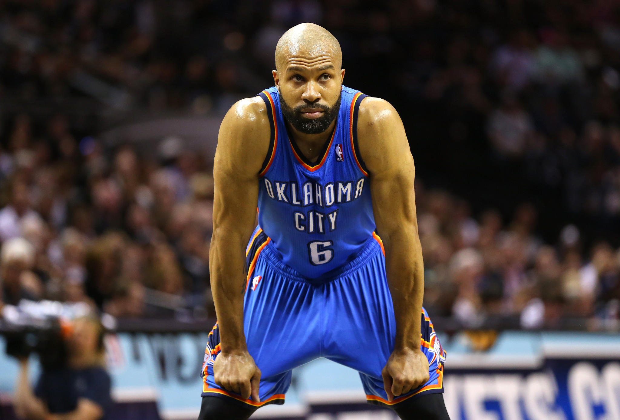 Derek Fisher of the Oklahoma City Thunder looks on in the first half while taking on the San Antonio Spurs in Game One of the Western Conference Finals during the 2014 NBA playoffs.