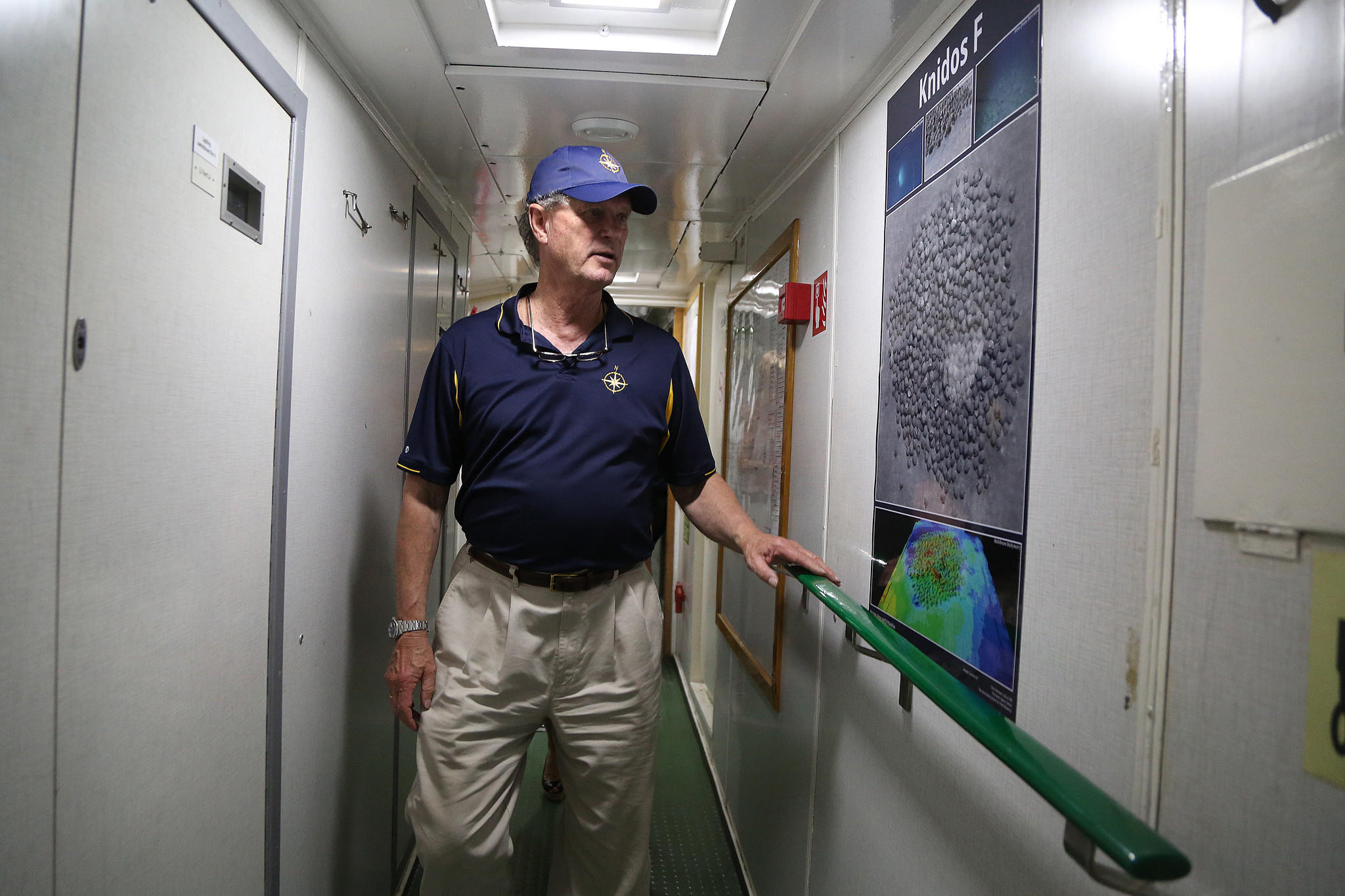 Deep-sea archaeologist Robert Ballard aboard the Nautilus, a 200-foot research vessel that is about to embark on a 4-month exploration of the Caribbean.