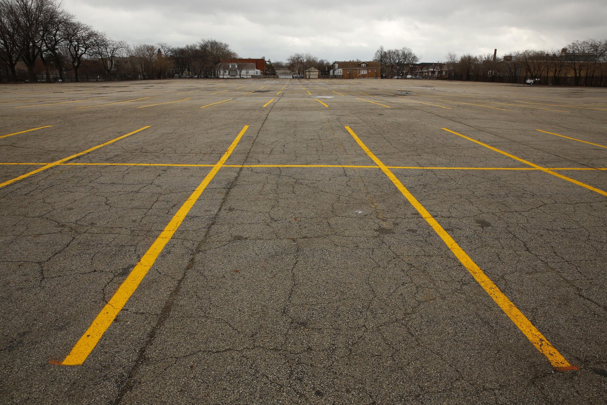 The Chicago Cubs remote parking lot at 3900 N. Rockwell St., is empty on opening day.