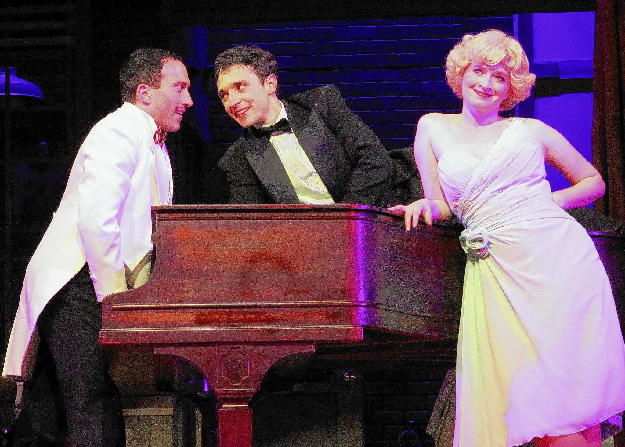 """Aaron Berk, Rick Faugno and Joyce Chittick star in the new three-character musical """"Fingers and Toes"""" at Ivoryton Playhouse."""
