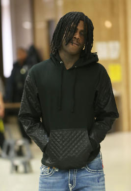 "Keith Cozart, also known as the rapper ""Chief Keef,""  arrives for a DUI pre-trial hearing at Lake County Courthouse."