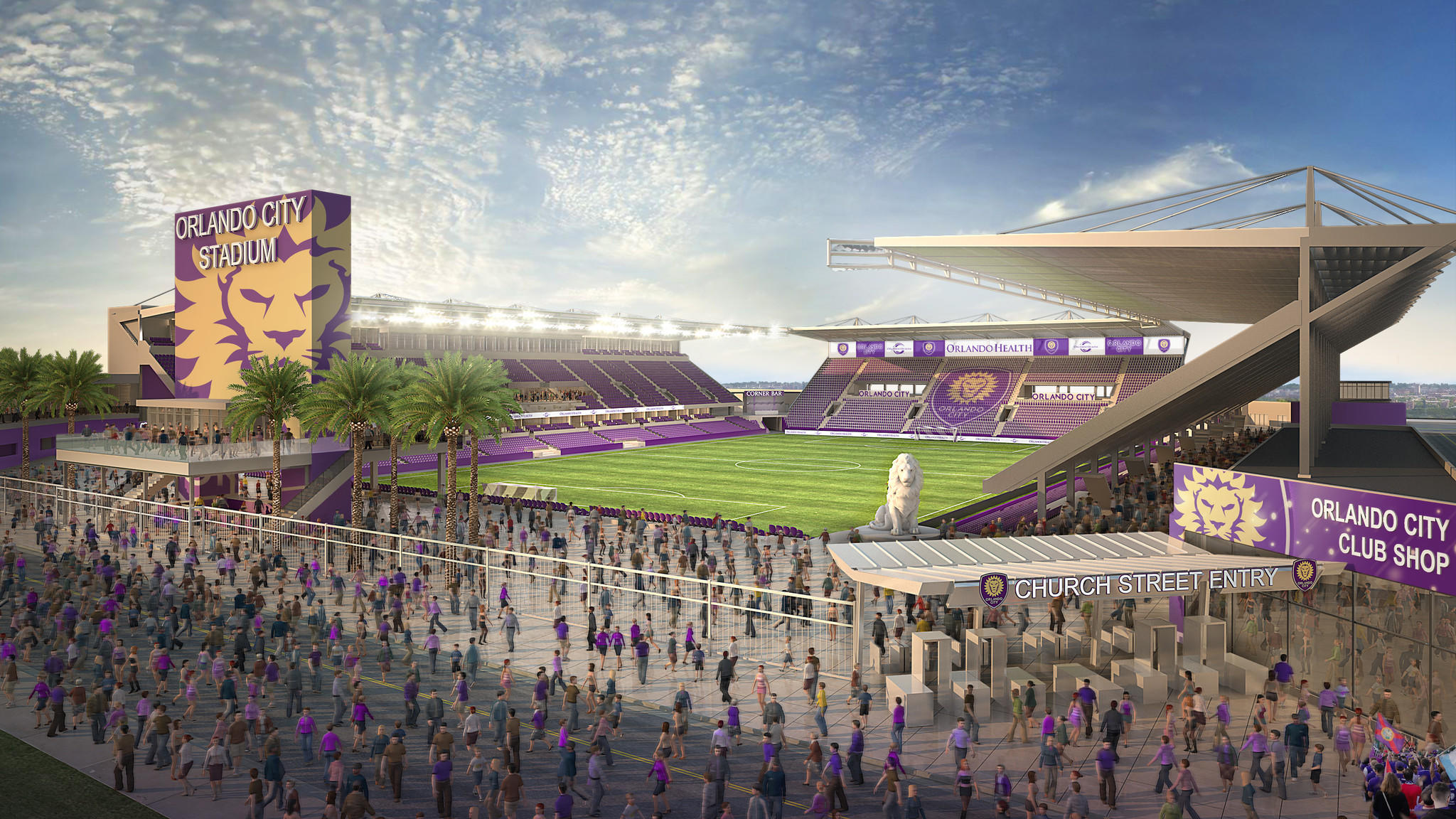 Orlando City SC President & Founder Phil Rawlins, City of Orlando Mayor Buddy Dyer and Orange County Mayor Teresa Jacobs unveiled renderings for Orlando's new downtown Major League Soccer stadium to the public on Tuesday, June 10, 2014.