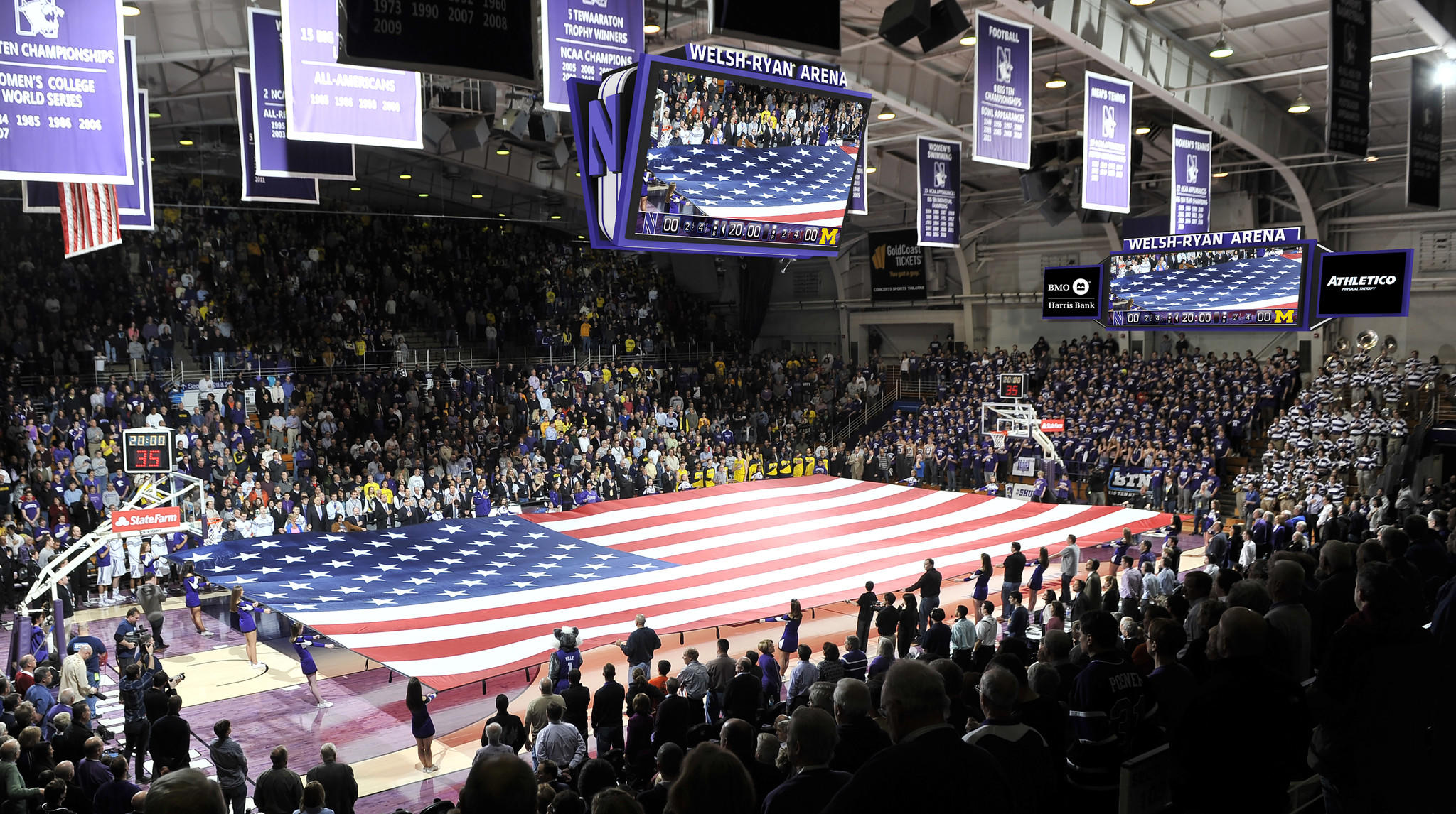 This digitally-manipulated image provided by Northwestern University was created to show how Welsh-Ryan Area may look with with the addition of four high-definition video boards in the 62-year-old arena. (Northwestern University illustration)
