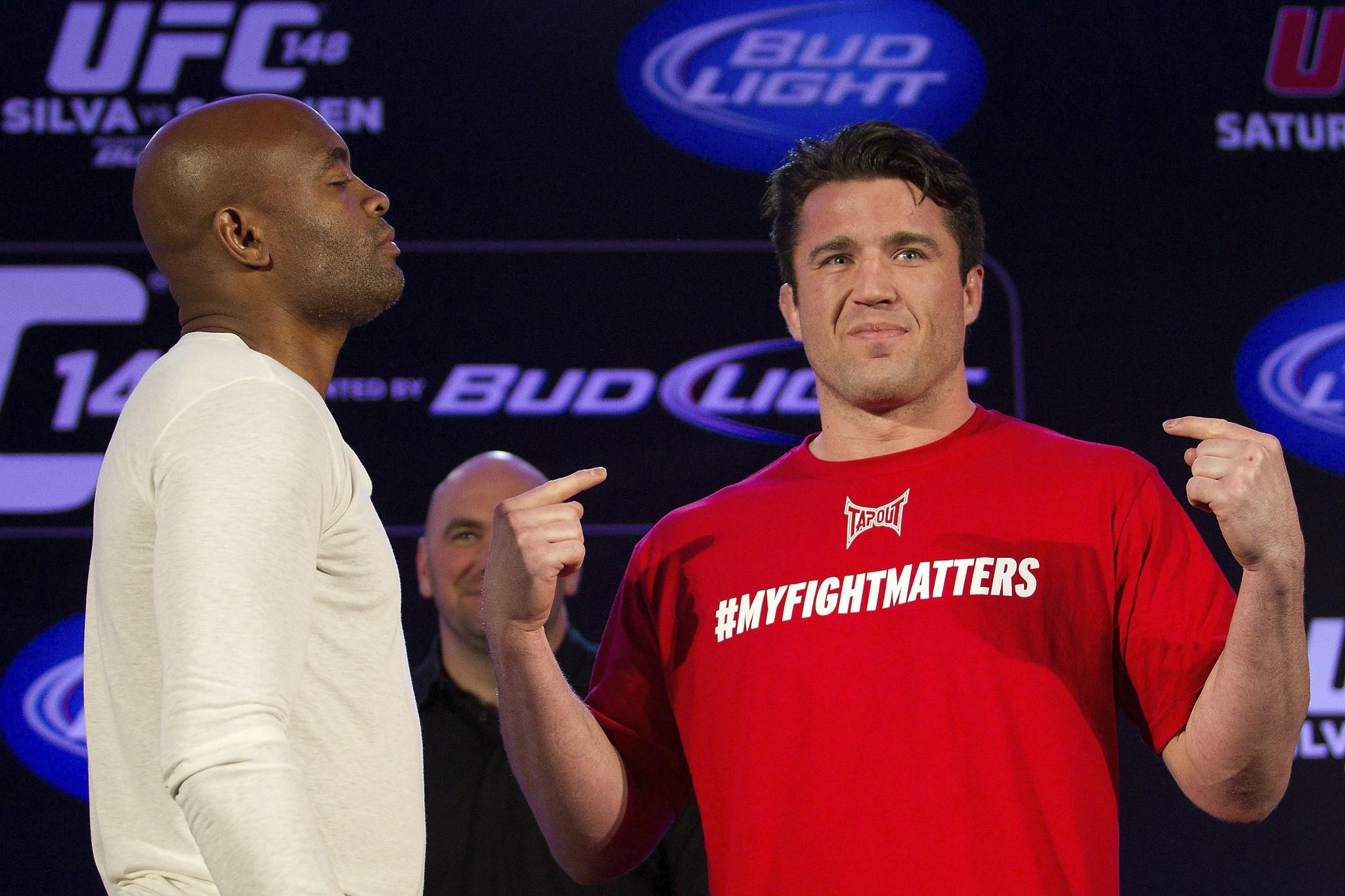 Chael Sonnen (right) with Anderson Silva before UFC 148.