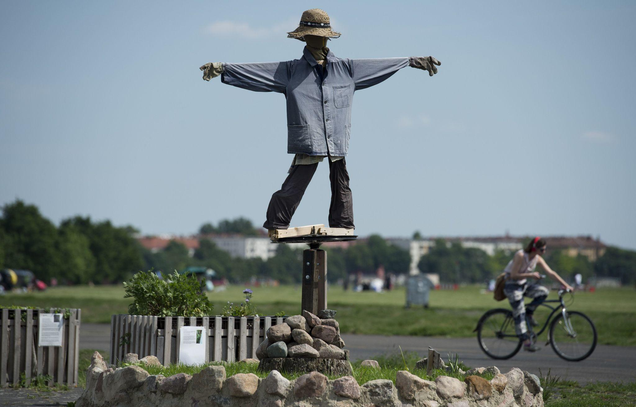 A scarecrow looks over a small garden near the main terminal of Tempelhof airport in Berlin on May 21, 2014.