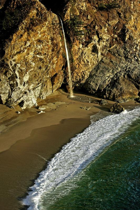 McWay Falls, from the trail above. No beach access allowed. (Ricardo DeAratanha / Los Angeles Times)