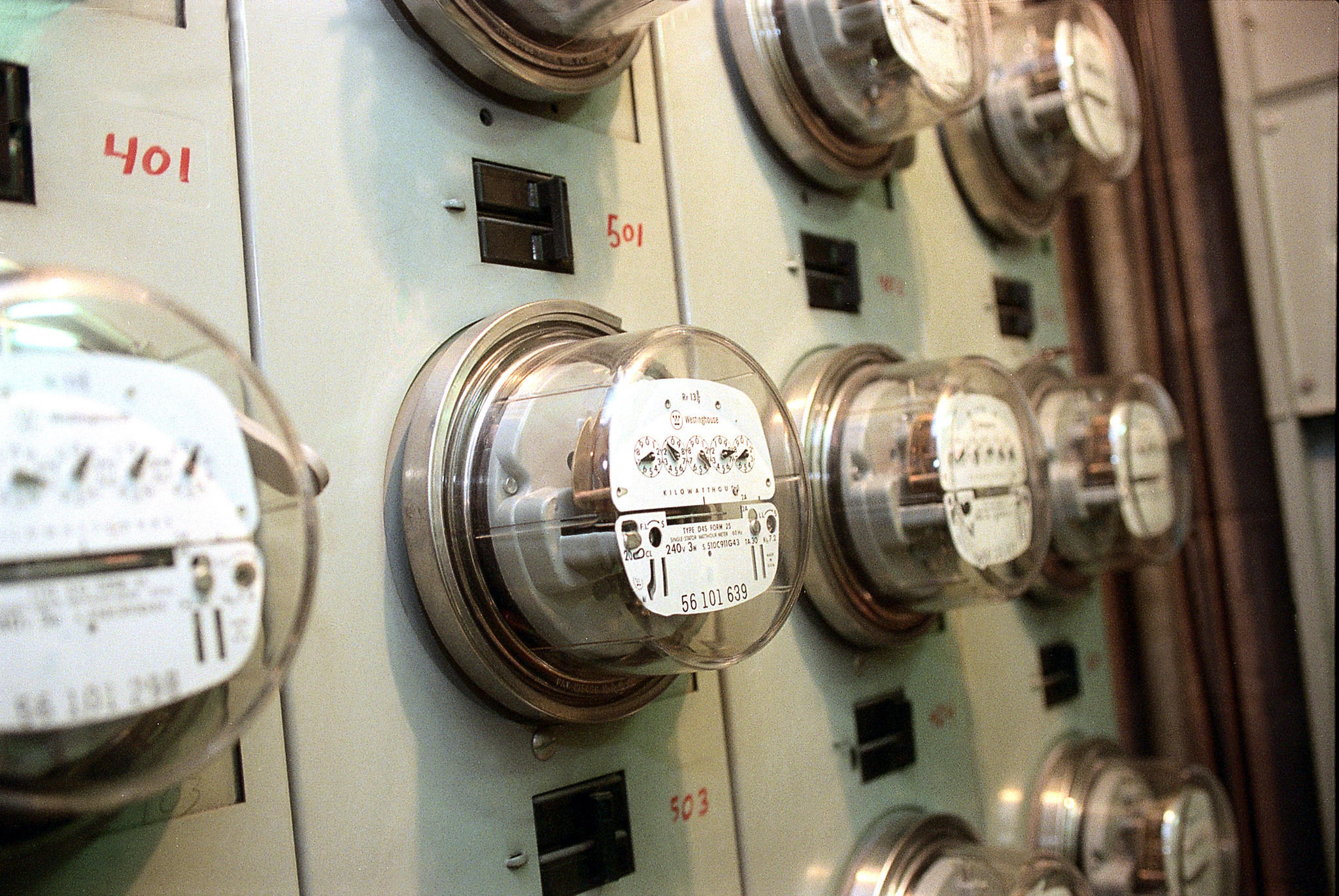 Banks of electric meters at McClurg Court Center, 333 E. Ontario Street.