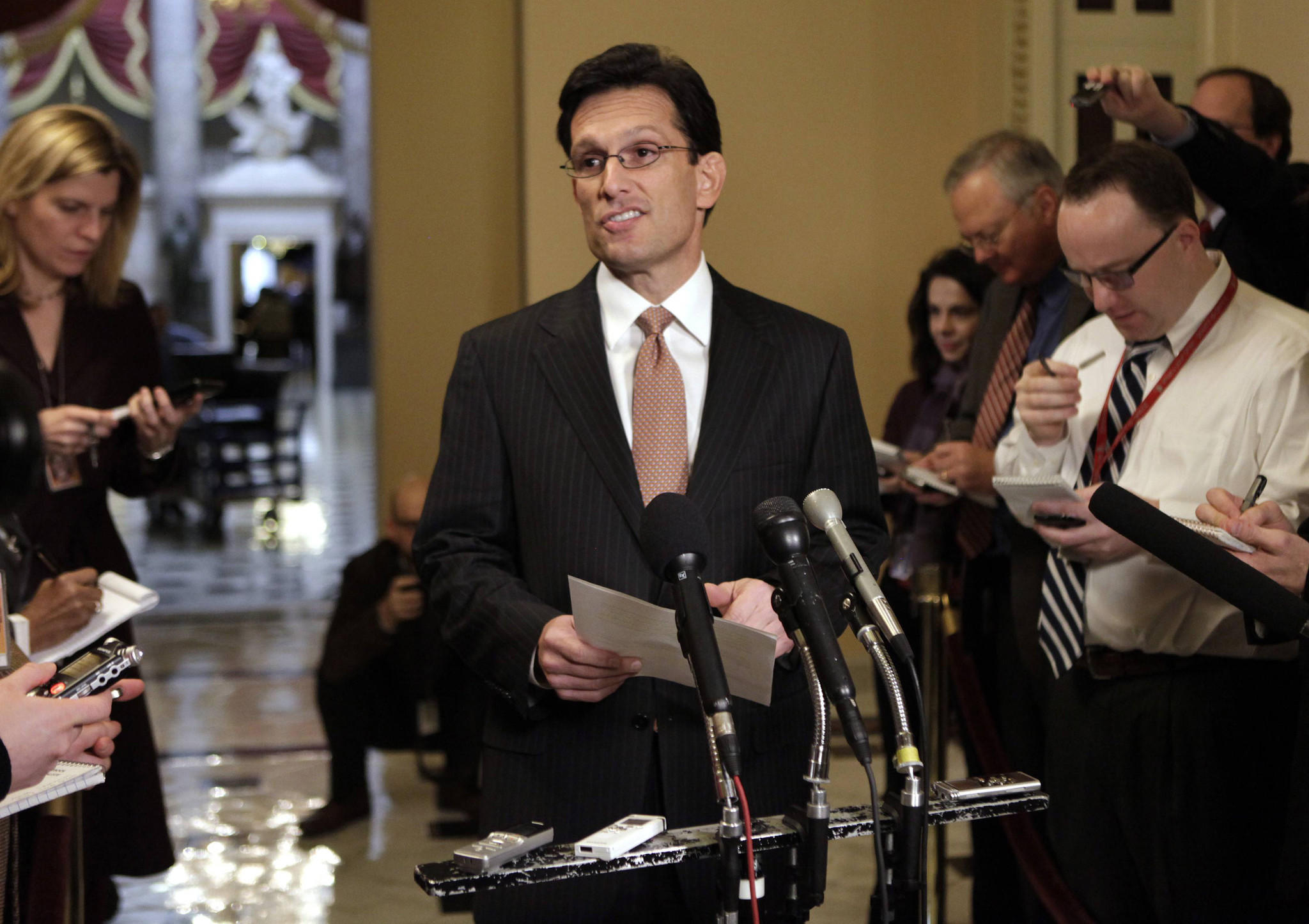 Majority Leader Eric Cantor speaks to the media on Capitol Hill in Washington, D.C., in December 2012.