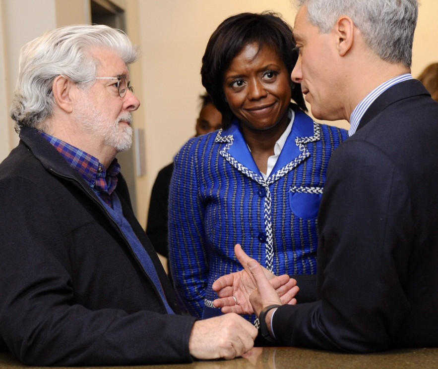 George Lucas, left, with wife, Ariel Capital Management's Mellody Hobson, and Chicago Mayor Rahm Emanuel at a 2013 press conference.