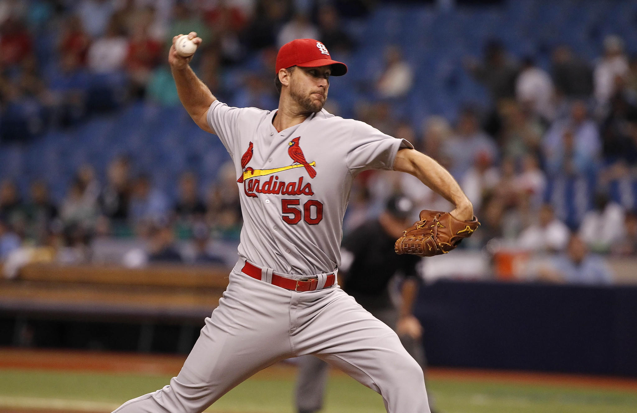 St. Louis Cardinals starting pitcher Adam Wainwright throws a pitch during the first inning against the Tampa Bay Rays at Tropicana Field.