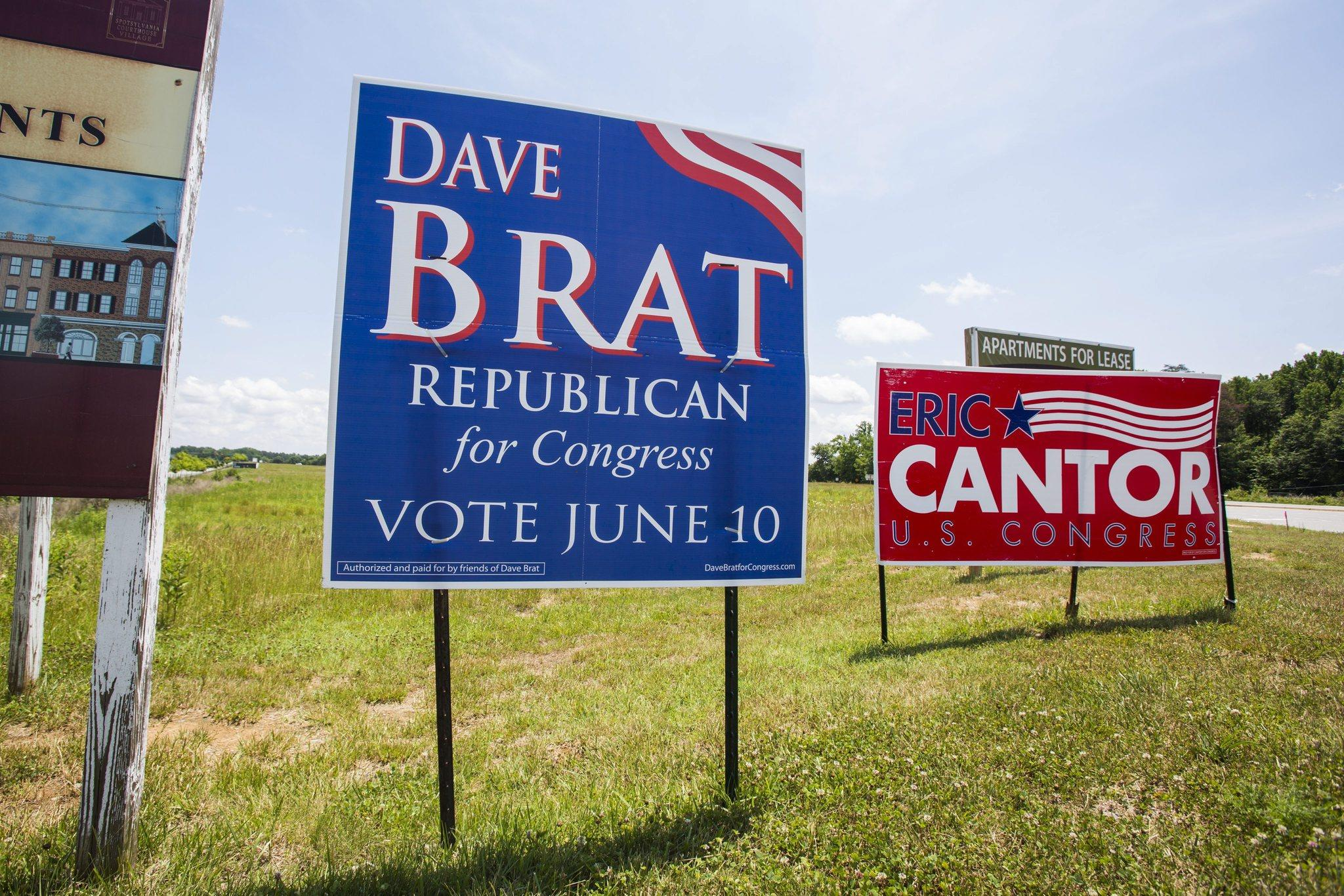 Campaign signs for Republican primary candidates David Brat and Eric Cantor sit along a roadside in Virginia's seventh congressional district in Spotsylvania, Virginia, USA, 11 June 2014. Brat's victory over the House Majority Leader has has sent shockwaves through the GOP establishment and energized the Tea Party.