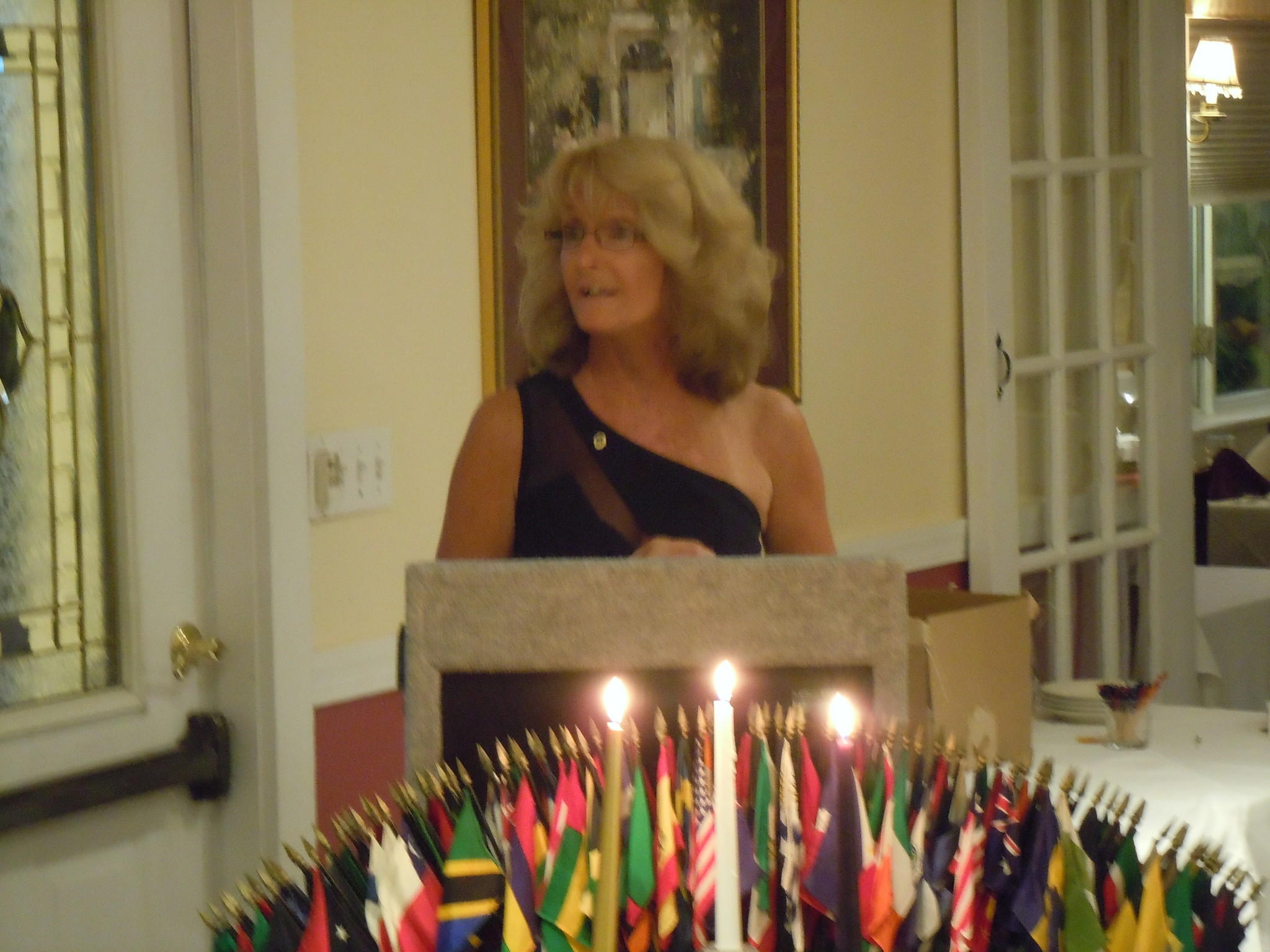 New Windsor Lions President Deborah Orth addresses the club at her installation ceremony.