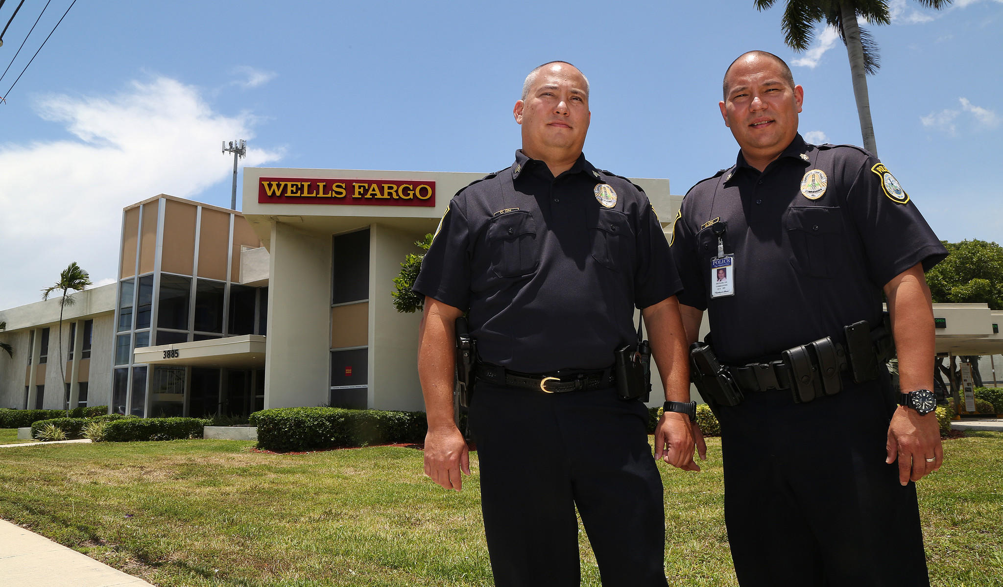 Sgt. Chris Oh and his brother, Commander Michael Oh, have each apprehended a bank robber who fled from a Wells Fargo bank branch just across Federal Highway from the city they protect.