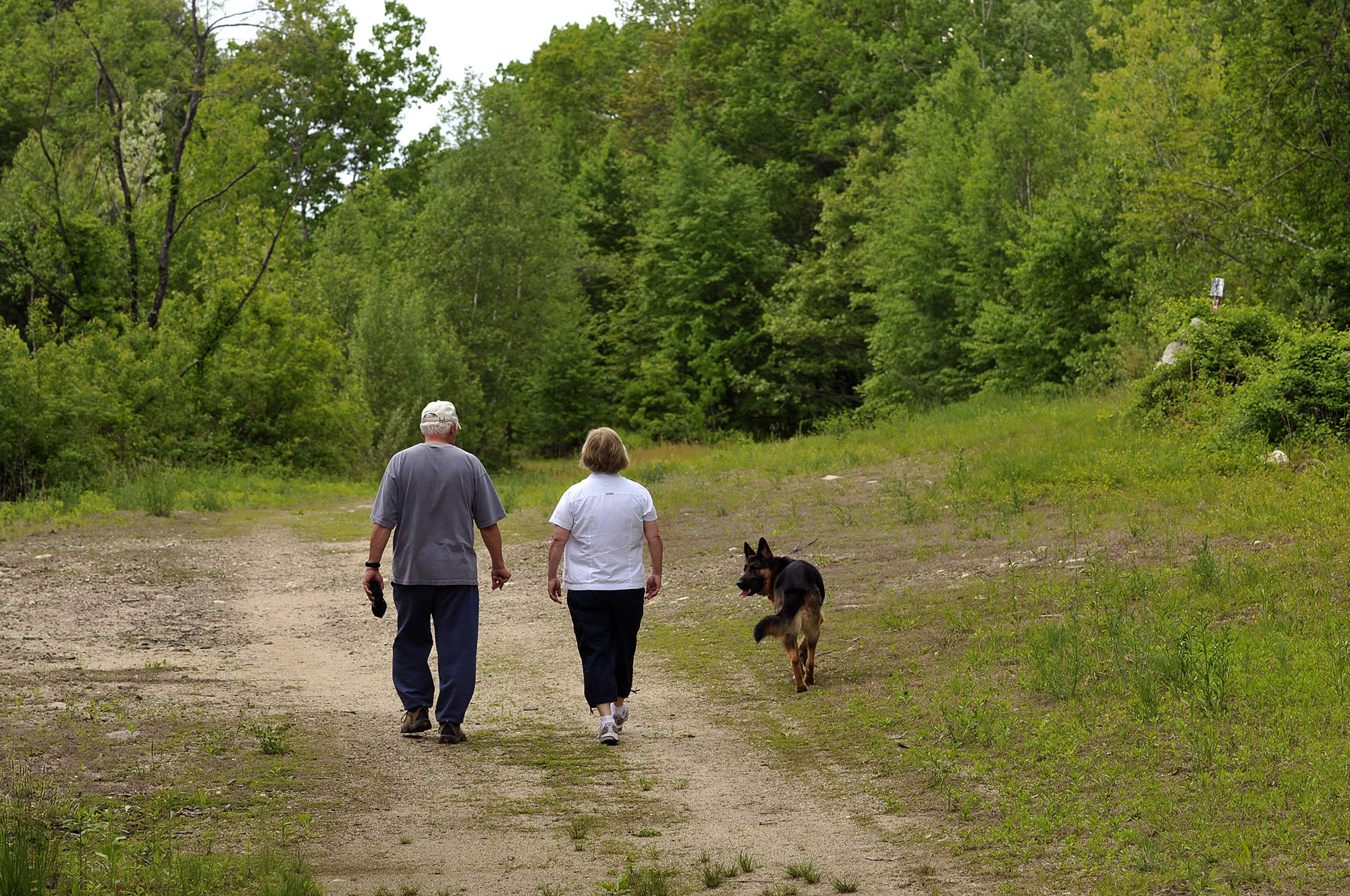 A proposal to develop land adjacent to Satan's Kingdom in both New Hartford and Canton is being opposed by Canton residents George and Laura Frascarelli. Here, they walk at the potential site of the development.