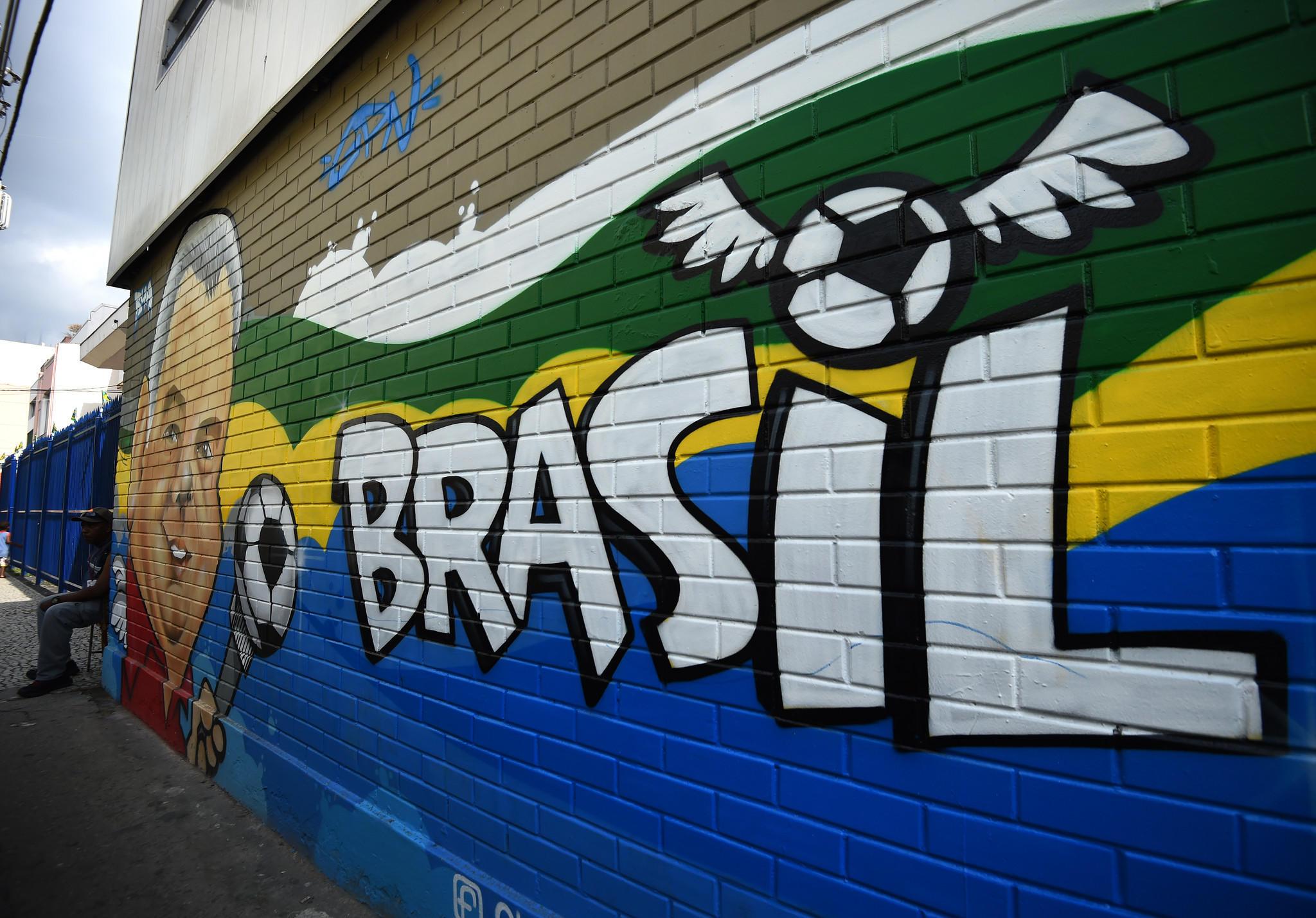 A wall murall seen in the street Rua Pereira Nunes on June 11, 2014 in Rio de Janeiro.